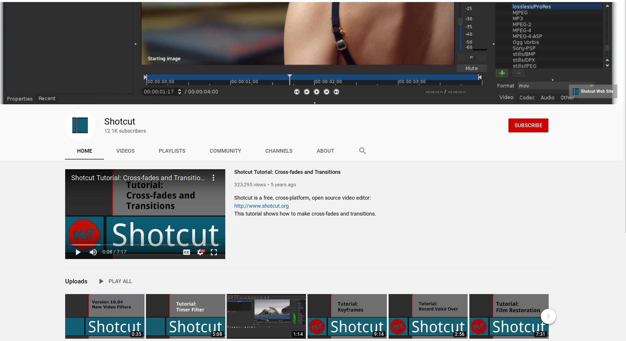 canle youtube de shotcut