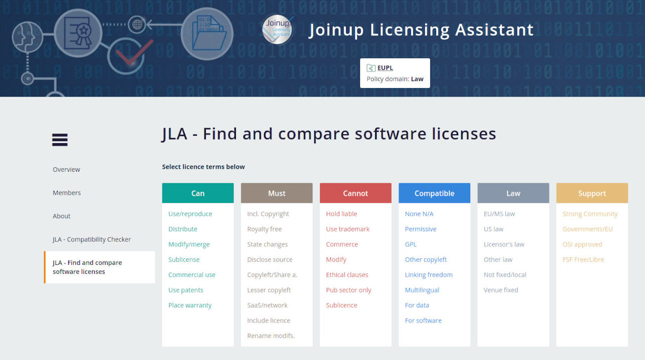 JLA find and compare software licenses